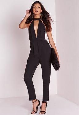 choker split front jumpsuit black