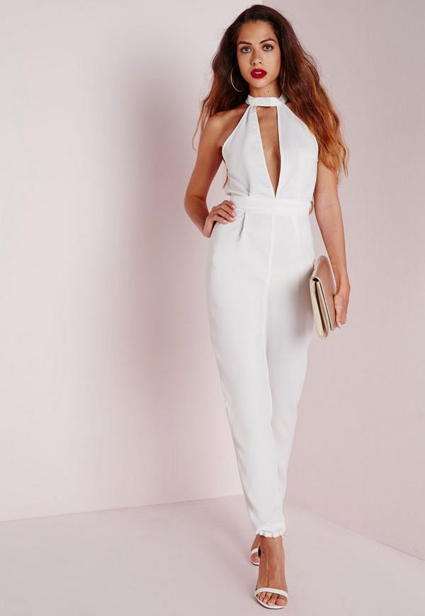 choker split front jumpsuit white