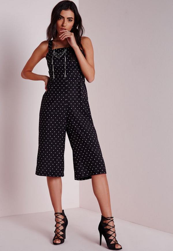 Cut Out Culotte Jumpsuit Black