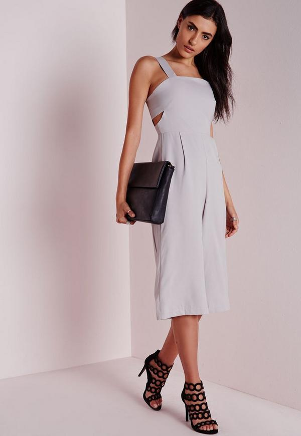Cut Out Culotte Jumpsuit Grey