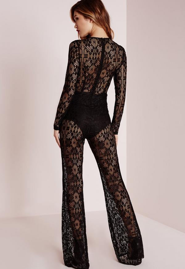 Premium Lace Flare Jumpsuit Black Missguided