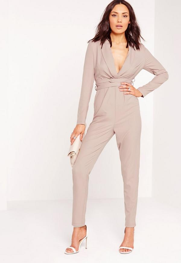 Crepe Long Sleeve Belt Detail Jumpsuit Nude