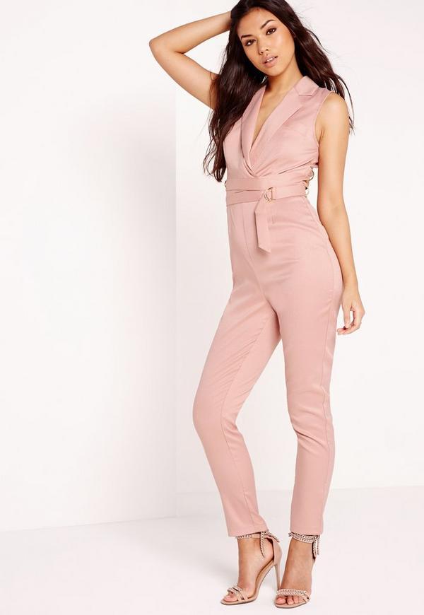 Crepe Sleeveless Belt Detail Jumpsuit Pink