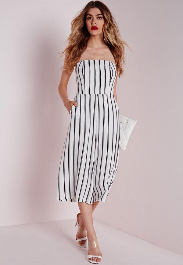 stripe bandeau culotte jumpsuit white missguided
