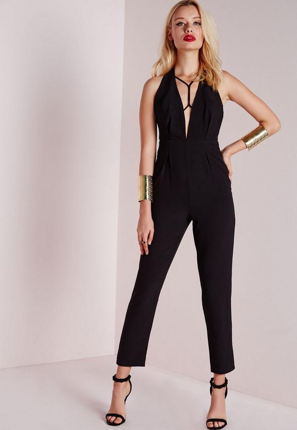 Harness Strap Detail Jumpsuit Black