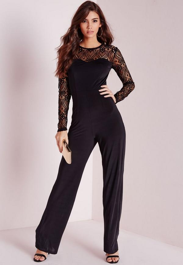 Lace Slinky Jumpsuit Black
