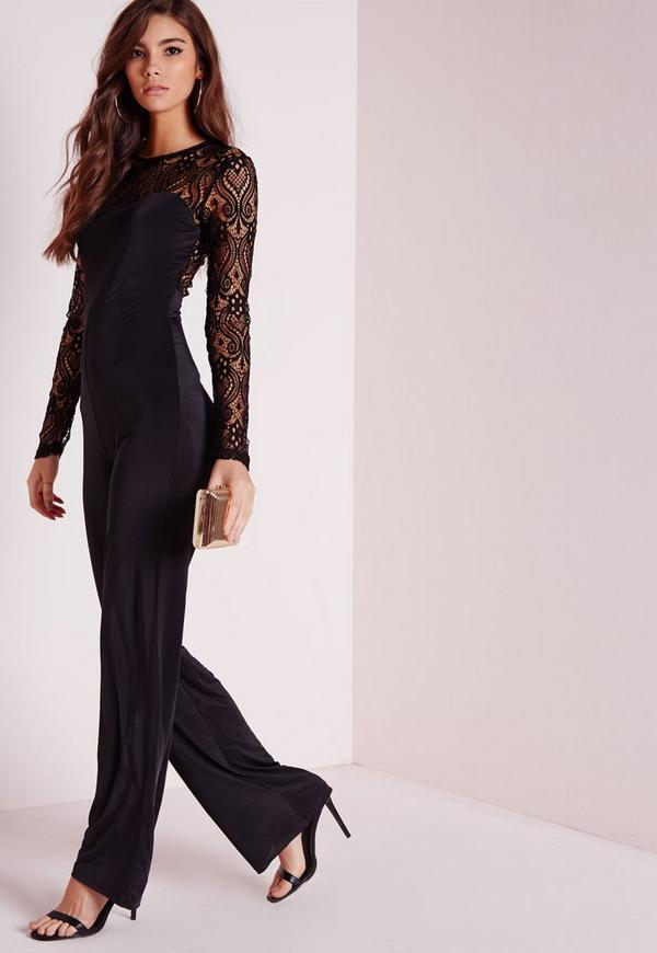 lace slinky jumpsuit black missguided. Black Bedroom Furniture Sets. Home Design Ideas