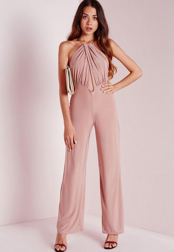 Necklace Halterneck Jumpsuit Pink