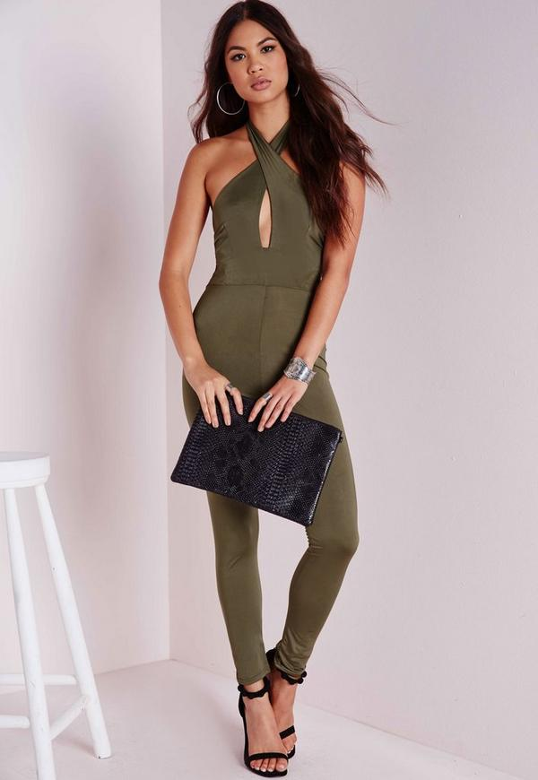 Cross Over Jumpsuit Khaki