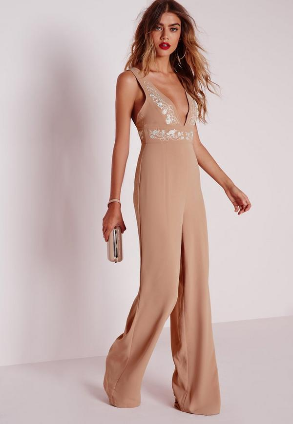 White Embroidery Jumpsuit Nude
