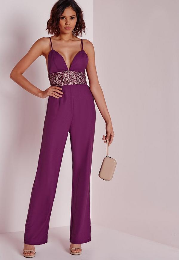Lace Insert Strappy Jumpsuit Purple