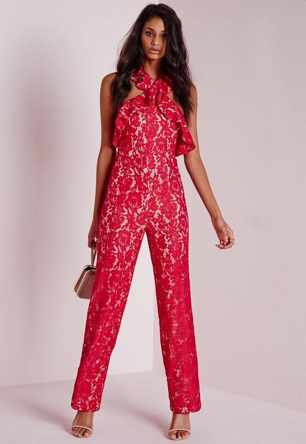 Lace Frill Halterneck Jumpsuit Red