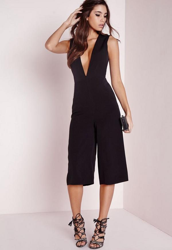 V Front Culotte Jumpsuit Black