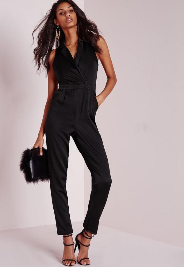 Satin Tux Sleeveless Jumpsuit Black