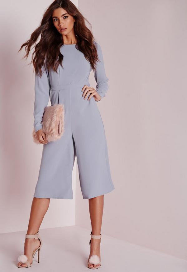 Open Back Long Sleeve Culotte Jumpsuit Grey