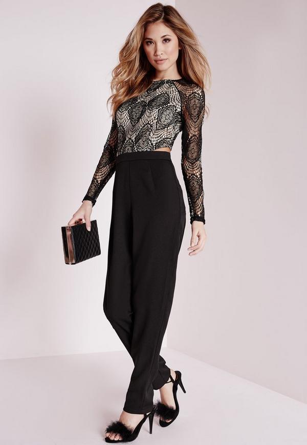 Lace Cut Out Waist Jumpsuit Black
