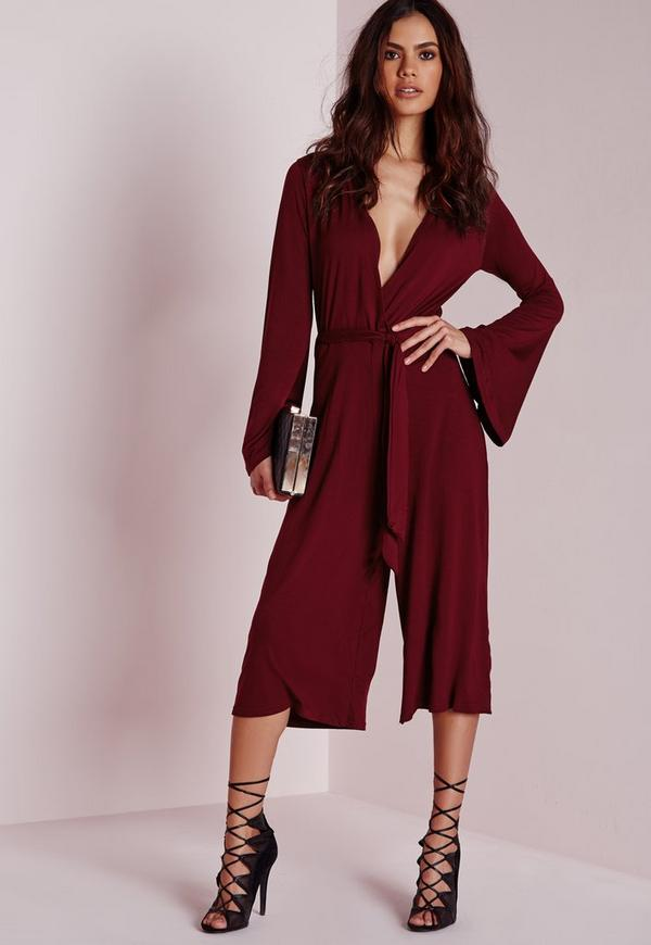 Jersey Wrap Belt Culotte Jumpsuit Burgundy
