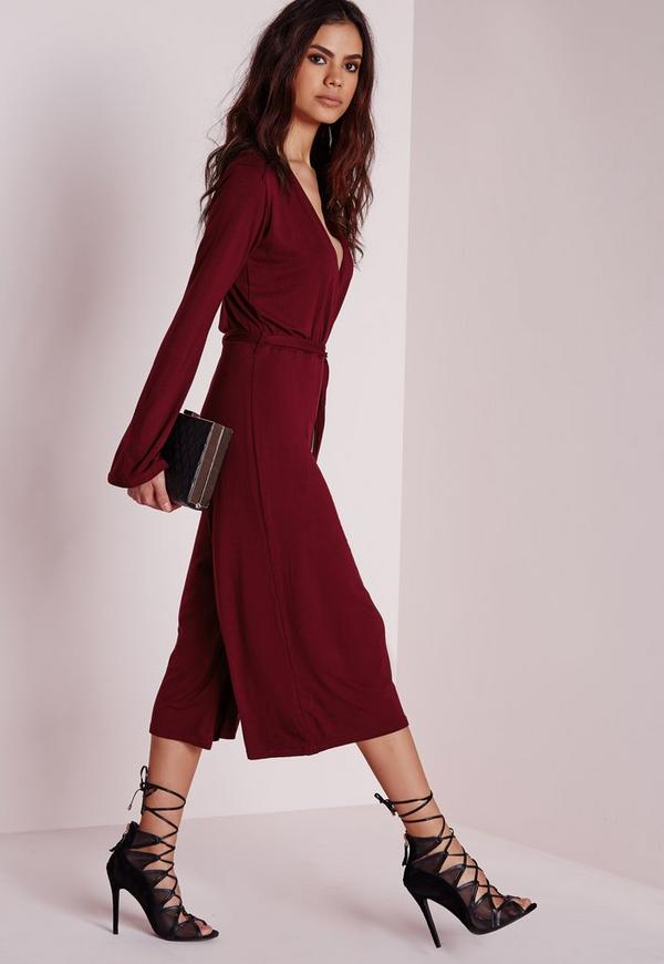 9e7182a846 Jersey Wrap Belt Culotte Jumpsuit Burgundy. Was  56.00. Now  38.00 (32%  off). Previous Next