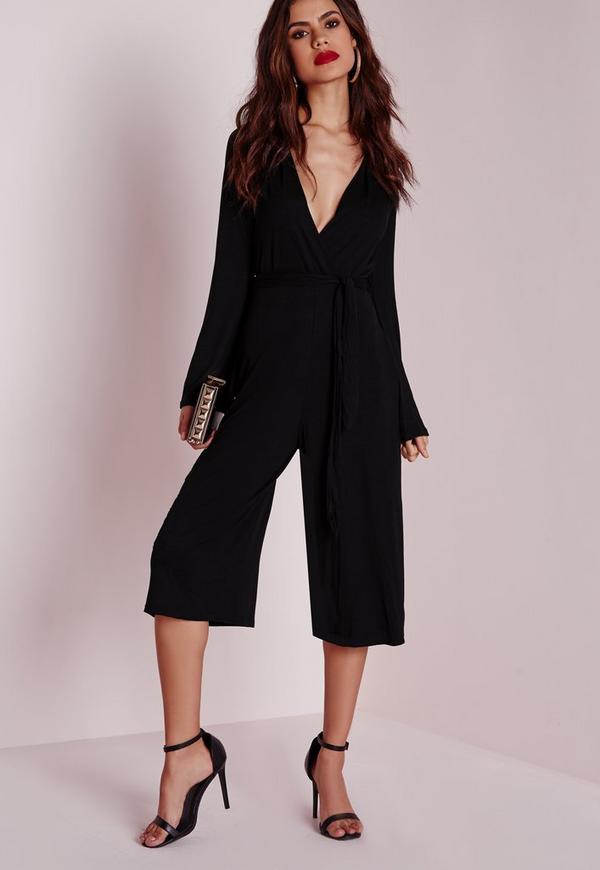 Jersey Wrap Belt Culotte Jumpsuit Black