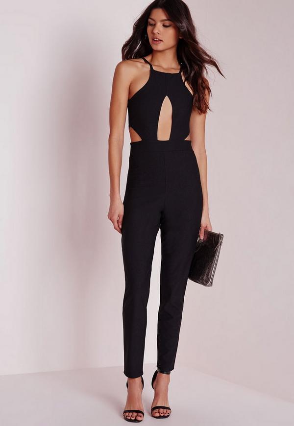 Keyhole Cut Out Waist Jumpsuit Black