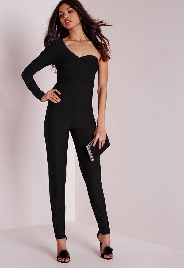 One Shoulder Wrap Front Jumpsuit Black