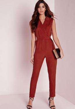 Sleeveless D-Ring Wrap Jumpsuit Red