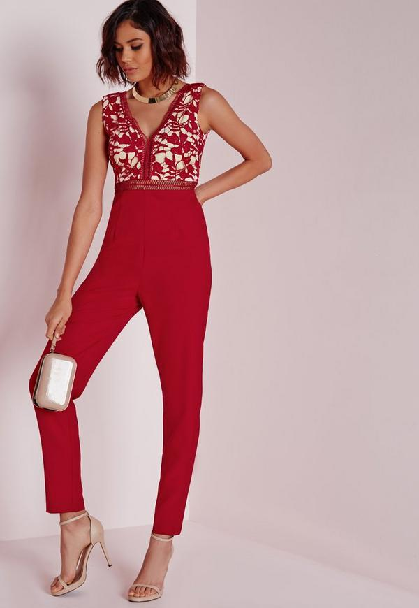 Ladder Detail Lace Top Jumpsuit Red