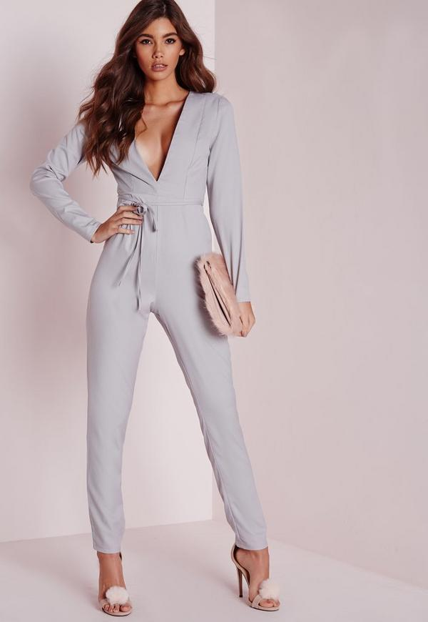 Plunge Tapered Leg Belted Jumpsuit Grey