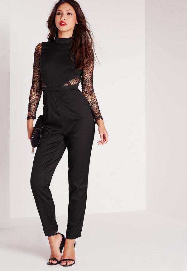 Lace High Neck Jumpsuit Black