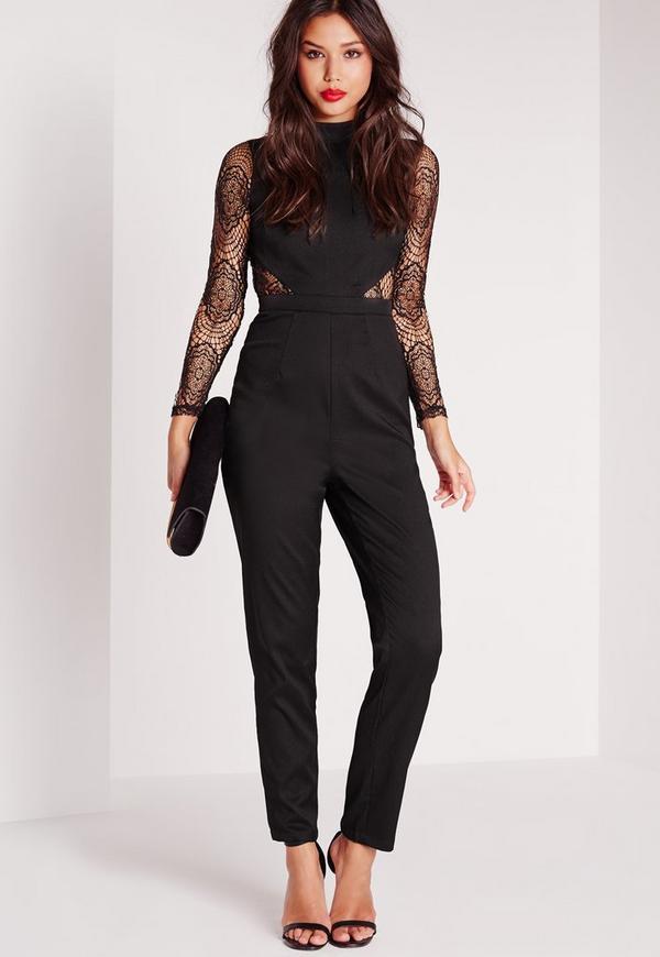 Lace High Neck Jumpsuit Black Missguided