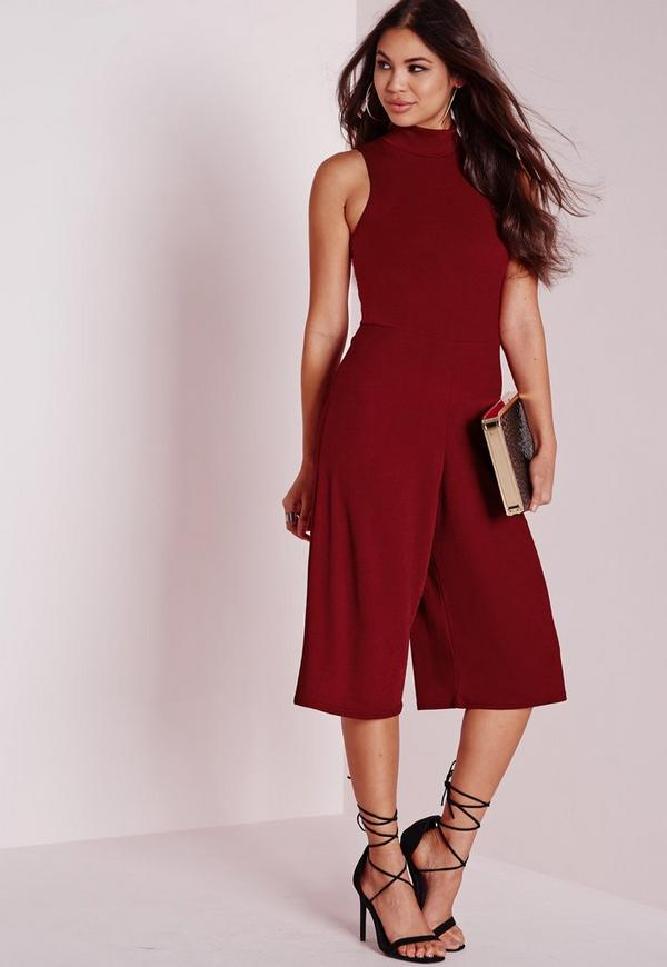 High Neck Culotte Jumpsuit Burgundy