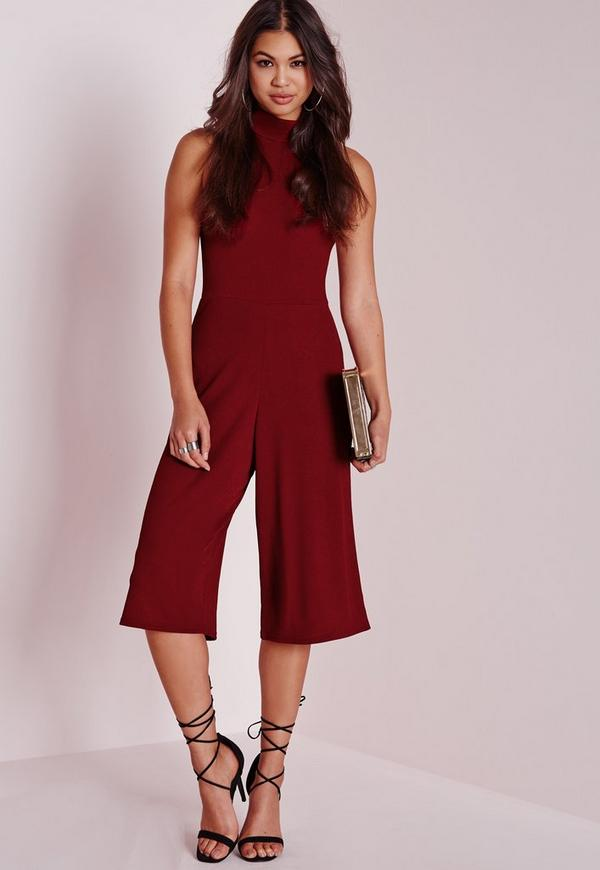 High Neck Culotte Jumpsuit Burgundy | Missguided