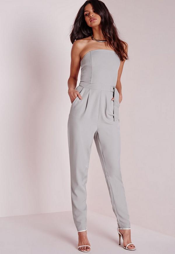 D Ring Bandeau Jumpsuit Grey