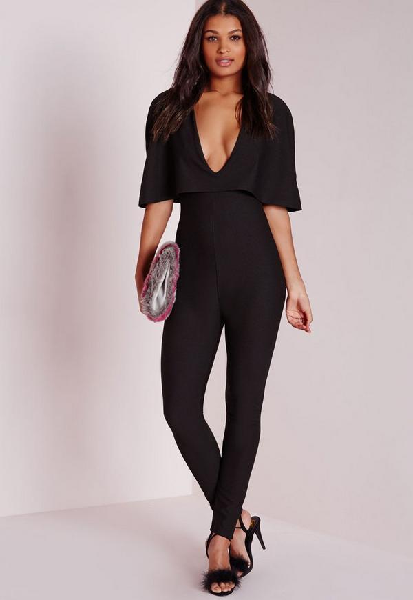 Cape Style Jumpsuit Black