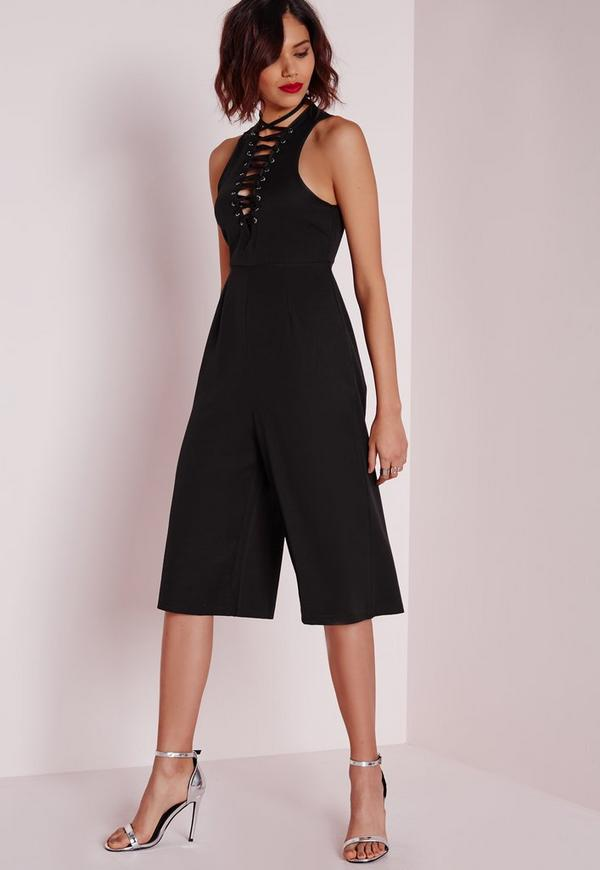 Lace Up Culotte Jumpsuit Black