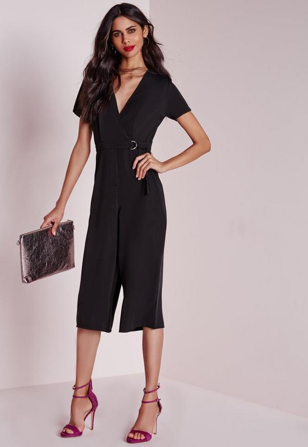 D-ring Wrap Culotte Jumpsuit Black