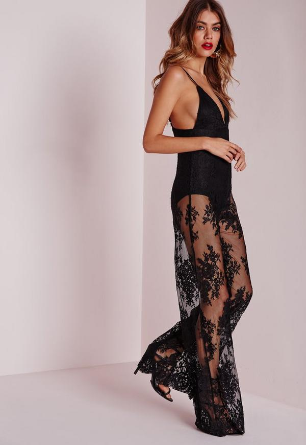 Lace Bodysuit Wide Leg Jumpsuit Black