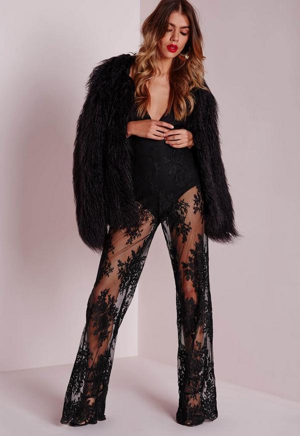 Lace Bodysuit Wide Leg Jumpsuit Black - Jumpsuits - Missguided