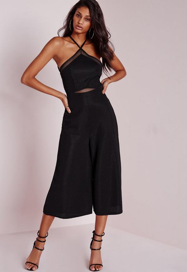 Mesh Insert Halterneck Culotte Jumpsuit Black