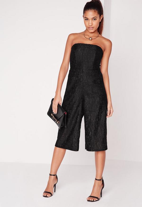 Lace Bandeau Culotte Jumpsuit Black