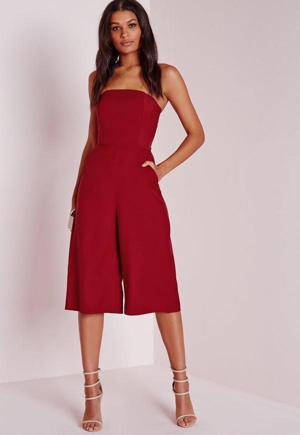 Bandeau Culotte Jumpsuit Red