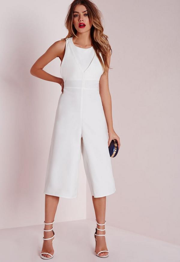 Double Layer Cut Out Jumpsuit White