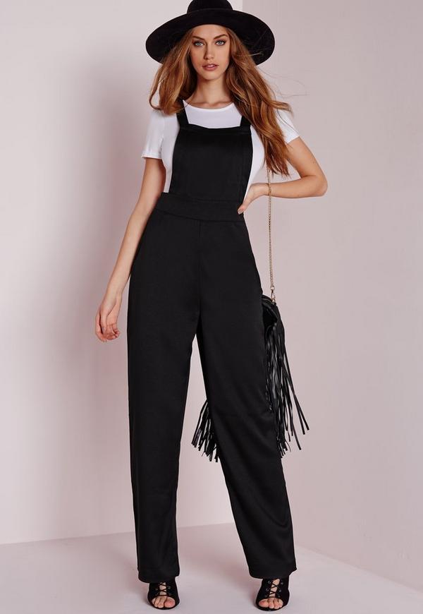 Wide Leg Dungaree Style Jumpsuit Black