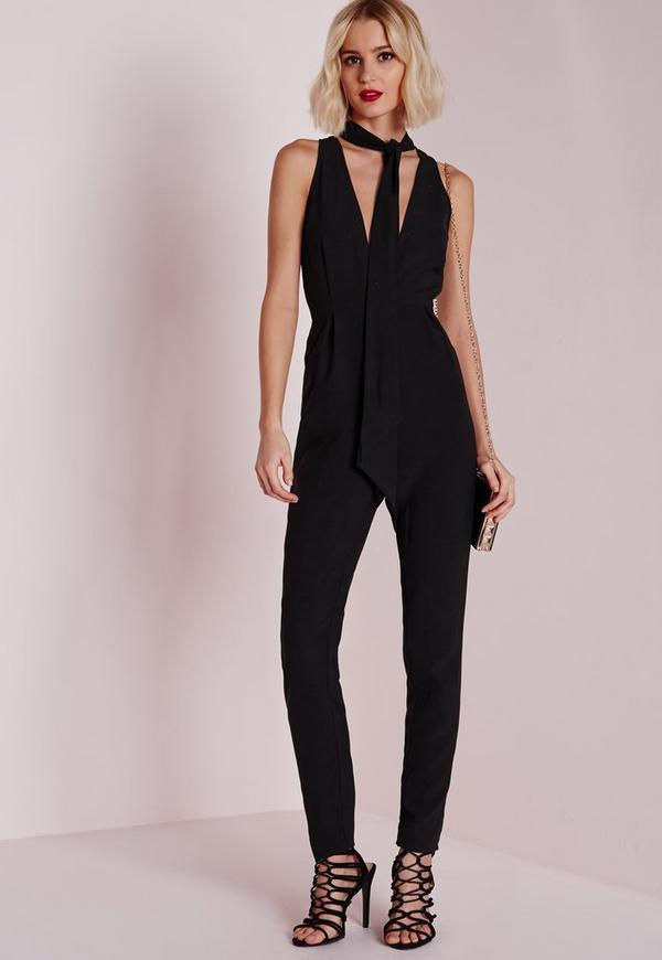 Skinny Neck Tie Jumpsuit Black