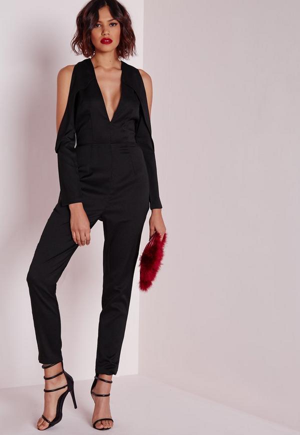 Tux Cut Out Shoulder Jumpsuit Black