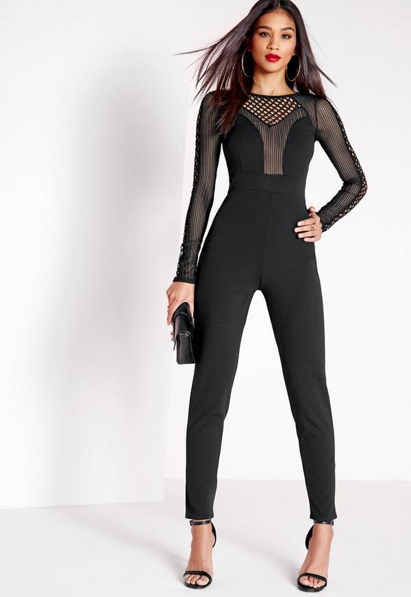Fishnet Mesh Insert Jumpsuit Black