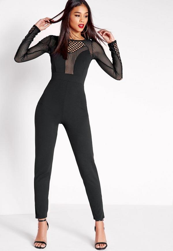 Fishnet Mesh Insert Jumpsuit Black Missguided
