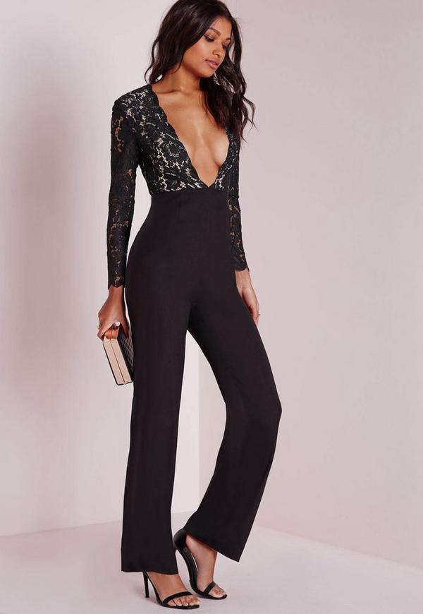Scallop Lace Plunge Wide Leg Jumpsuit Black