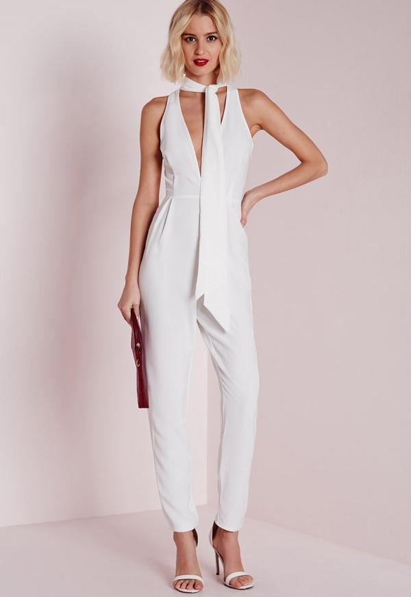 Skinny Neck Tie Jumpsuit White