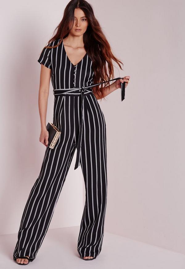 Stripe Button Up Jumpsuit Black